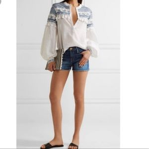 FRAME DENIM Le Cutoff frayed denim short 26 fringe